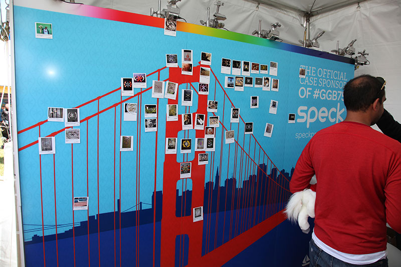 Speck set up a mural of the Golden Gate Bridge with fan's renditions of our logo, Sparky