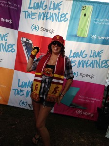 Fans showing their USC pride by donning red and gold accessories at the ESPN LA / Speck Products Tailgate Party!