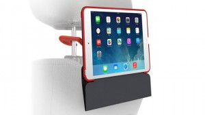 In-car backseat passenger viewing iPad mini with Retina display case that shifts into a protective folio with adjustable stand.