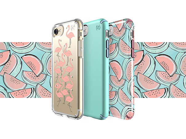 watermelon iPhone cases, flamingo clear print iPhone case and blue summer iPhone case with a watermelon print background.