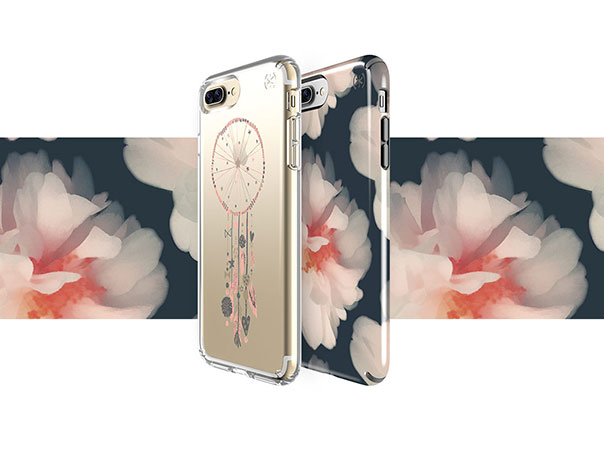 Clear dreamcatcher iPhone print case and floral print iPhone case with a floral background