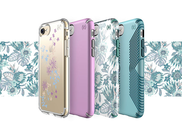 Floral print iPhone cases with a floral background